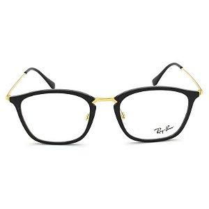 Óculos Ray Ban Preto e Dourado RB7164