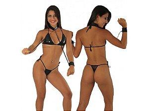 Fantasia Prisioneira Sexy em Vinil com Amarras
