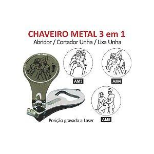 Chaveiro Metal - 3 em 1 - Posições Sexuais a Laser