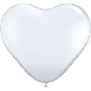 Balão Coração - Branco - Decoração Romântica - 06 Un