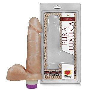 Pênis Realístico Saco e Vibro - Macio 15 x 3,8 cm