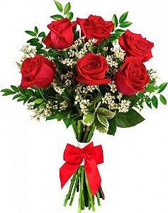 Buquê com 06 Lindas Rosas Vermelhas Artificiais