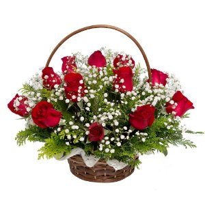 Cesta com 12 Rosas Realísticas Vermelhas Artificiais