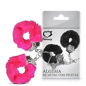 Algemas Reforçadas Metal com Chaves - Pelúcia - Rosa
