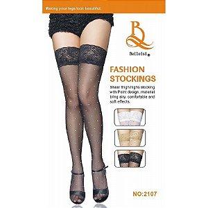 Meia 7/8 com Bolinhas e Renda Fashion Stockings