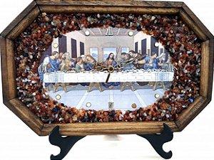 Relógio De Parede Artesanal, Madeira E Pedras - RTA003-1 - Santa Ceia