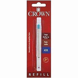 Carga Esferográfica para Caneta Crown - Ponta Média - Tipo Parker - Cor Azul - CA14007A