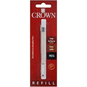 Carga Esferográfica para Caneta Crown - Ponta Média - Tipo Parker - Cor Preta - CA14007P