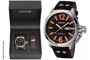Relógio Magnum Masculino MA31524C Kit com bracelete de couro
