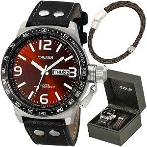 Relógio Magnum Masculino MA31542Z Kit com bracelete de couro