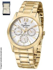 Relógio Champion Feminino Multifunção - Kit com corrente + pingente e par de brincos - Semi-Jóia CH38235W