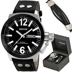 Relógio Magnum Masculino MA31533C Kit com bracelete de couro