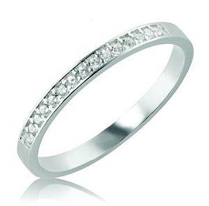 Meia Aliança em Prata 950 - 15 Pedras de  Zirconia Branca de 1,25mm de diâmetro - 44669