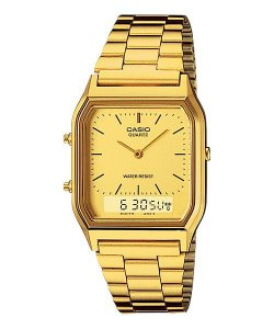 Relógio Casio Vintage Anadigi AQ-230GA-9DMQ - Dourado