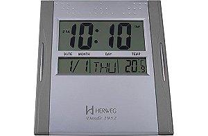 Relógio de Parede Herweg Digital - REF 6474 - Prata