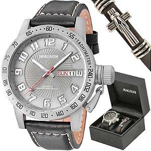 Relógio Magnum Masculino MA33139X Kit com bracelete de couro