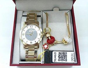 Relógio Champion Feminino CN25136S - Kit Pulseira com pingentes - Semi-Jóia