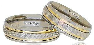 Alianças em Aço Inox Modelo DC500 - Unisex - 6mm de Largura, Recartilhada e com 2 filetes de Ouro (PAR)