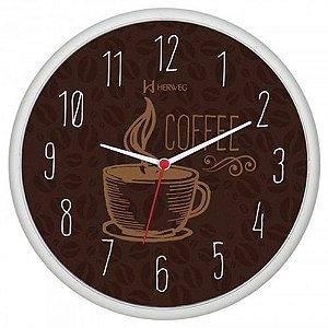 RELOGIO DE PAREDE HERWEG QUARTZ  660014 COFFEE