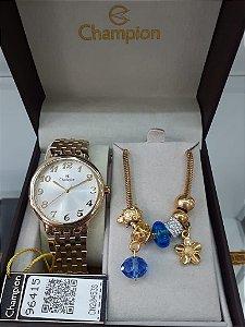 Relógio Feminino Champion - Kit com Pulseira com Berloques CN20453S