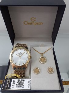 Relogio Champion Feminino CN26742W - Kit Colar, pingente e brincos