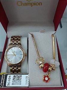 Relógio Champion Feminino CN20435B - Kit Pulseira com Berloques