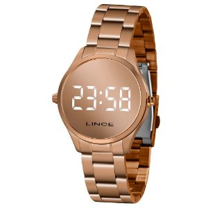 Relógio Lince LED Espelhado Rosê MDR4617L
