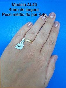Par de aliança de Ouro 18k 4mm AL40