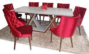 Conjunto Mesa em Laca com vidro pintado + 8 cadeiras majestade