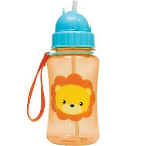Garrafa com Canudo Animal Fun Leão 350ML - Buba Baby