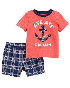 Conjunto Infantil Menino Bermuda Xadrez e Camiseta Âncora Carter's