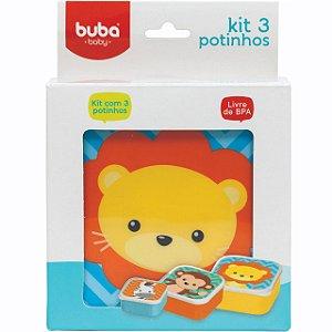 Kit 3 Potinhos Animais Buba Colorido - Buba Baby