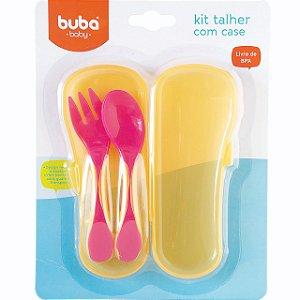Kit Talher Rosa Baby com Case - Buba Baby