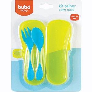 Kit Talher Azul Baby com Case - Buba Baby