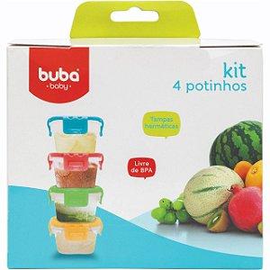 Conjunto de 4 Potes com Tampa 180 Ml - Buba Baby