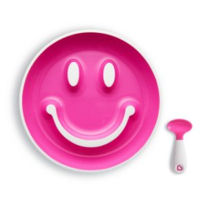 Kit Prato Smile com Ventosa e Colher Rosa - Munchkin