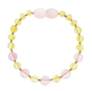 Pulseira de Âmbar Baroque Lemon/Quartzo Rosé 14 cm - Büp Baby