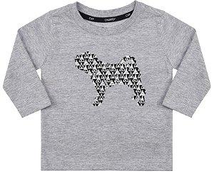 Camiseta Bebê Manga Longa Cinza Estampa Cachorro Menino - Charpey