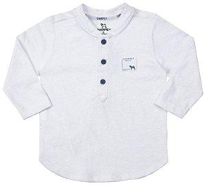 Bata Bebê Manga Longa Botões Branco Menino - Charpey