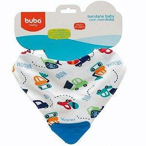 Bandana Baby com Mordedor Buba Carrinhos Azul - Buba Baby