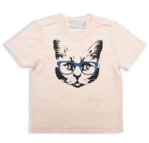 CAMISETA SILK CAT BOLSO BEGE