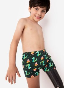 SUNGA BOXER KIDS DRAGAO VERDE