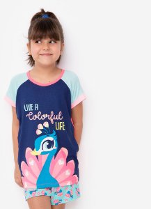 SHORT DOLL MC KIDS VISCO PAVAO AZUL MARINHO