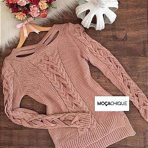 Blusa tricot trançado rosê