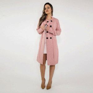 Trench Coat Tricô Lã Rosa