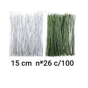 100 Arames Base Encapado n*26  15 cm branco e verde