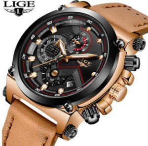 Relógio LIGE 9856 Dourado - Pulseira de Couro