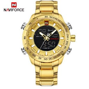Relógio de Pulso Dourado Naviforce 9093 Digital