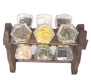 Porta Condimento Organizador Tempero Madeira Cozinha 12 Potes