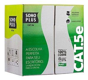 Cabo Utp CAT5e Soho Plus Anatel 100% Cobre Caixa C/305mts